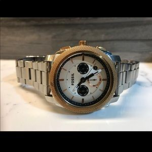 Fossil silver men's watch_needs new battery/NoBox